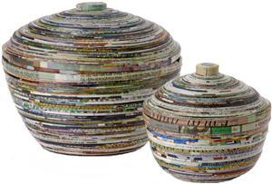 potten met deksel gerecycled papier